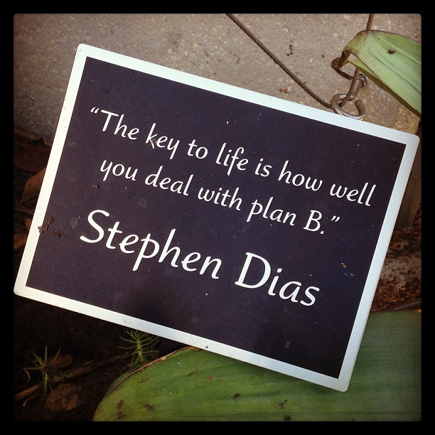 """The key to life is how well you deal with plan B."" by Betsy Weber,"